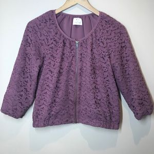 UO Pins and Needles Lace Bomber Jacket